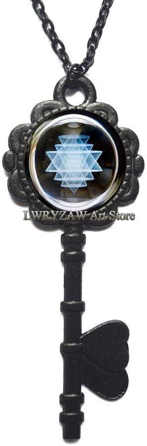 Sri Yantra Black Key Necklaces, Buddhist Sacred Geometry Key Necklaces, Spiritual Yoga Key Necklaces Gift, Black and White Pendant,M196