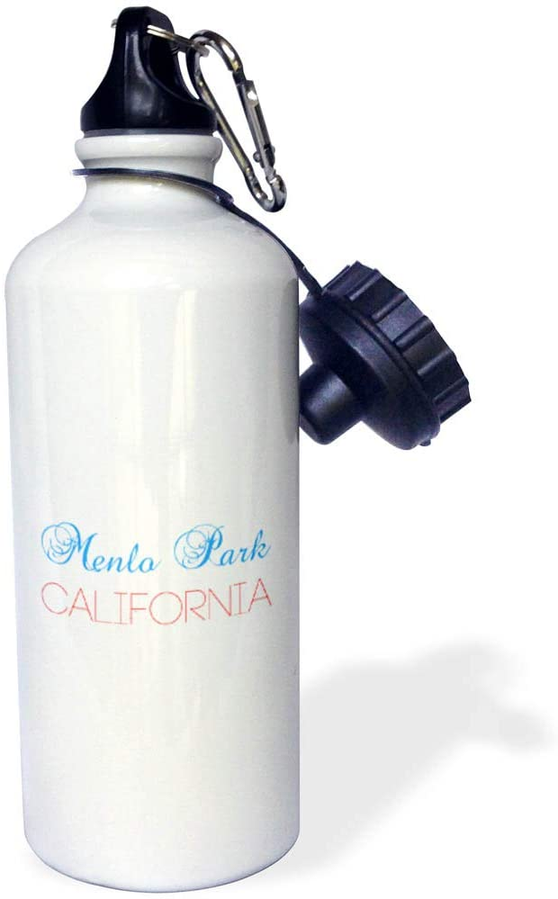 3dRose Alexis Design - American Cities California - Menlo Park, California. Red, Blue Text. Patriot Home Town Design - 21 oz Sports Water Bottle (wb_321332_1)