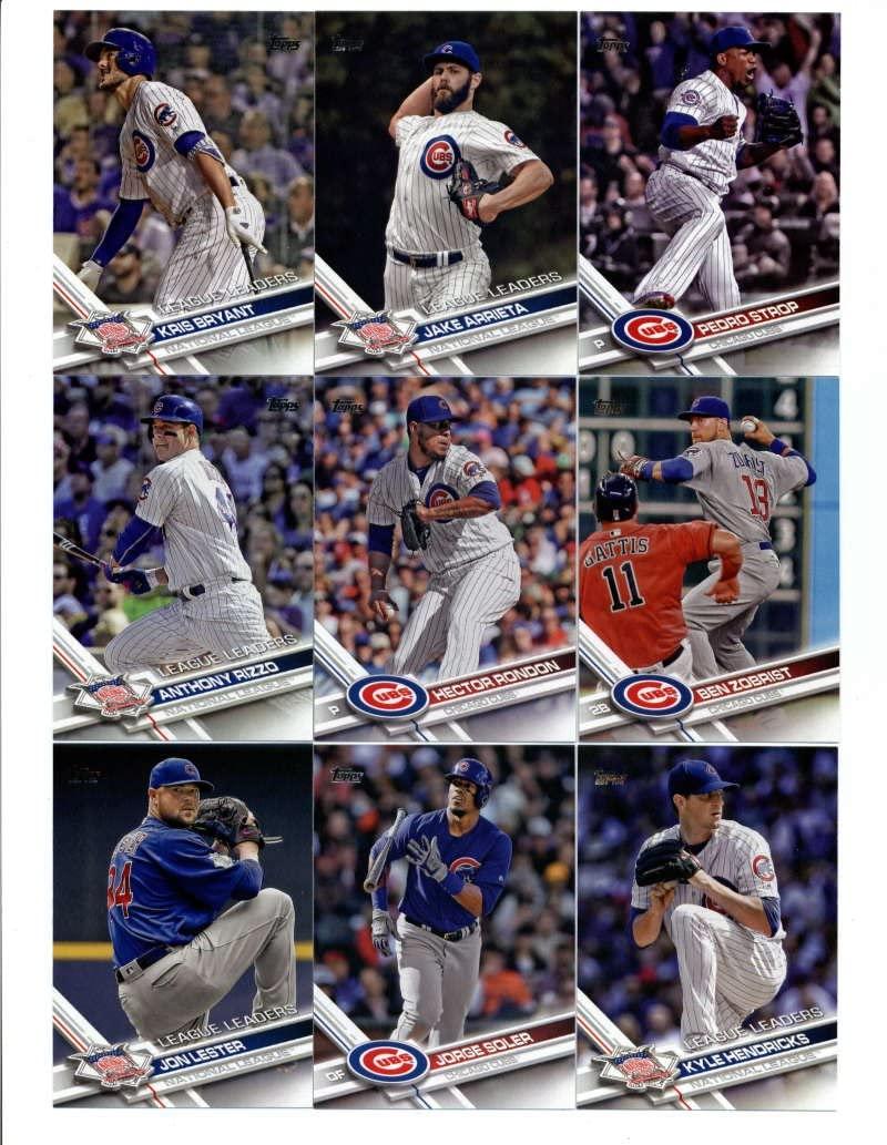 2017 Topps Series 1 & 2 Chicago Cubs Team Set of 30 Cards: Kris Bryant(#1), Jason Hammel(#2), Jake Arrieta(#18), Aroldis Chapman(#39), Chicago Cubs(#72), Kyle Schwarber(#73), Addison Russell(#78), Kyle Hendricks(#113), Jon Lester(#144), Jon Lester(#162), Jorge Soler(#166), Anthony Rizzo(#204), Chicago Cubs(#206), Jason Heyward(#223), Hector Rondon(#224), Ben Zobrist(#238), Addison Russell(#263), Jake Arrieta(#270), Kris Bryant(#277), Pedro Strop(#303), Jon Lester(#360), plus more