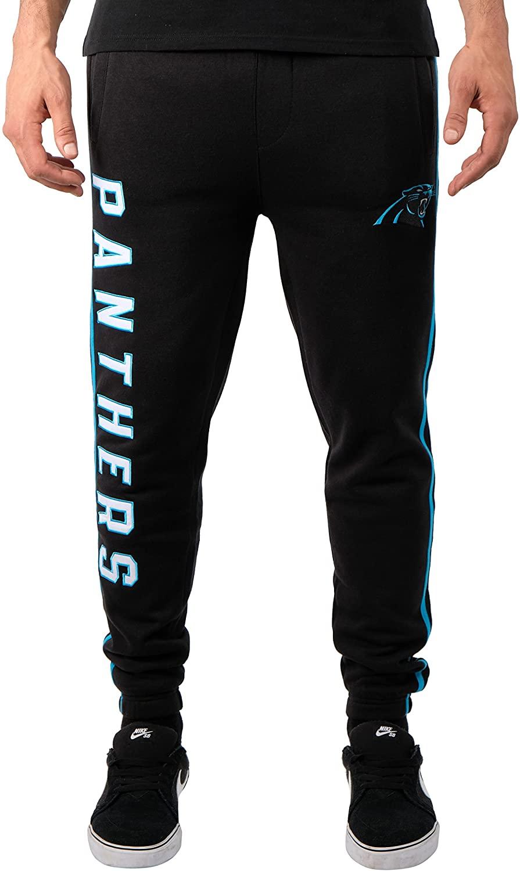 Ultra Game NFL Carolina Panthers Mens Jogger Pants Active Basic Fleece Sweatpants, Team Color Stripe, Small