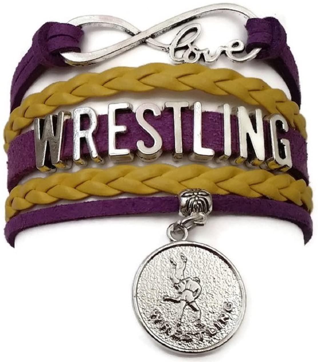 Kits Kiss Wrestling Bracelet, Wrestling Jewelry, Wrestling Mom Bracelet, Wrestling Gift, Leather Bracelet, Love Infinity Bracelet (Purple and Yellow Gold)