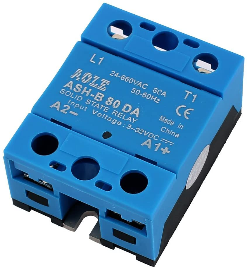 uxcell ASH-B80DA 4-32VDC to 24-660VAC 80A Single Phase Solid State DC to AC Relay Authorized