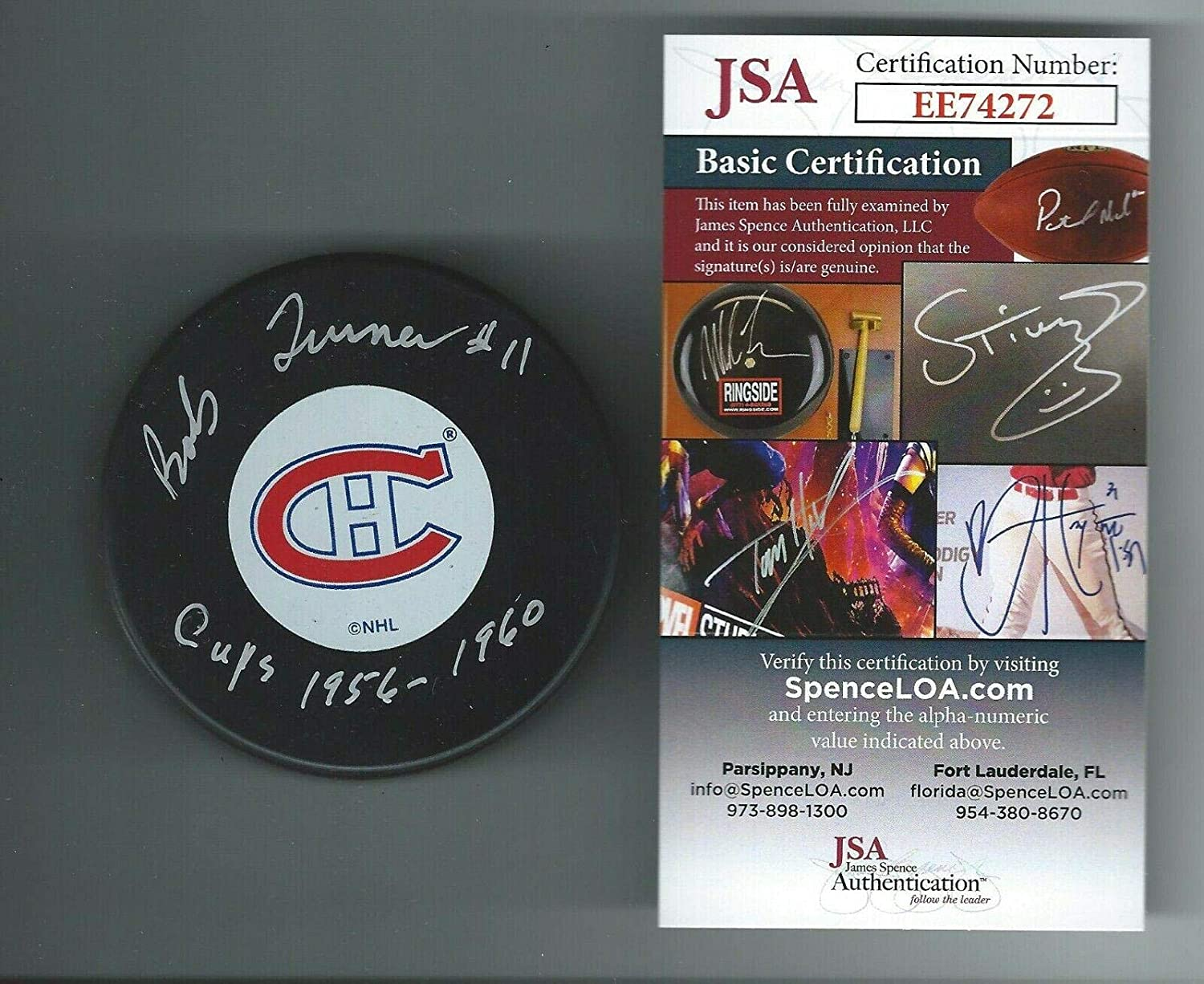 Bob Turner Autographed Hockey Puck - Authenticated COA - JSA Certified - Autographed NHL Pucks