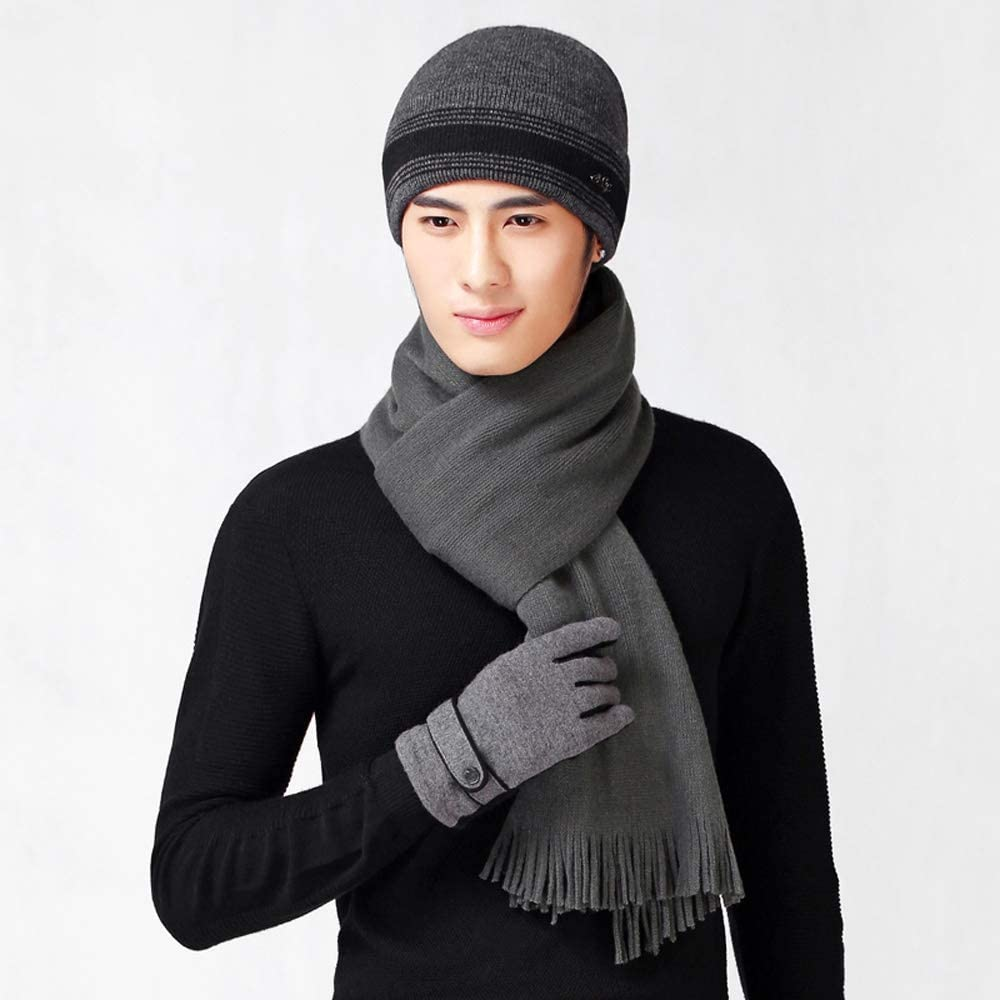 Uoyov 2019 end Wool Hat Scarf + Gloves Warm Suit Men's Autumn and Winter Fashion Trend Knit Scarf Hat Gloves Cold Suit Neck Warm and Soft Wool Lining Outdoor Mountaineering Ski Gloves