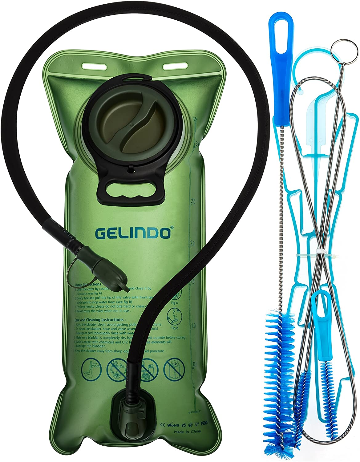 Gelindo Hydration Bladder 3 Liter with Cleaning Kits, Hydration Bladder Brush and BPA-Free Water Backpack Replacement, Large Opening and Quick Release Tube with Shutoff Valve for Hiking Biking Outdoor