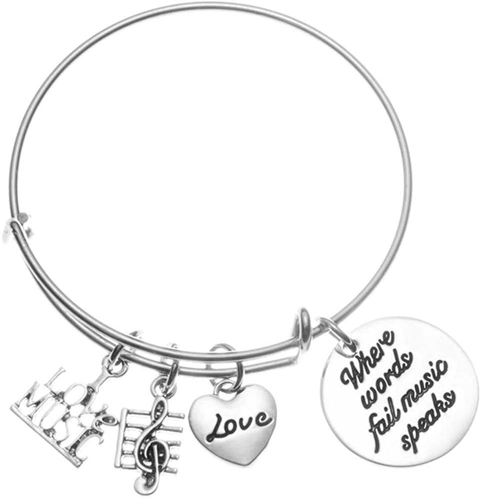 Music Bracelet - Where Words Fail Music Music Speaks Jewelry Gift - Treble Clef Jewelry - Music Note-Music Lover Jewelry Gift