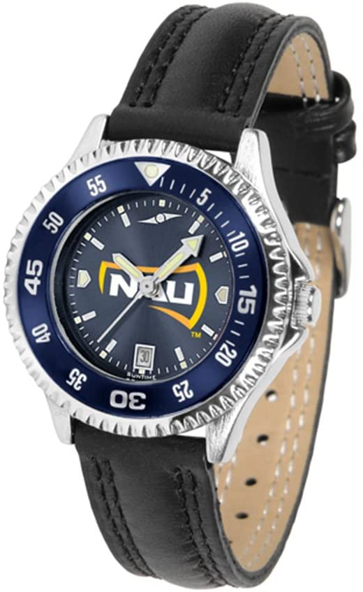 SunTime Northern Arizona (NAU) Lumberjacks Competitor Ladies AnoChrome Watch with Leather Band and Colored Bezel