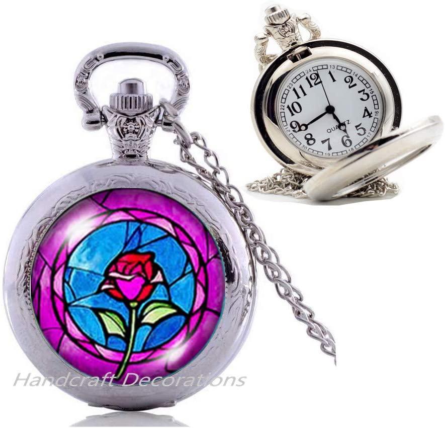 Rose Flower Pocket Watch Necklace,Rose Pocket Watch Necklace,Rose Charm Pocket Watch Necklace,Rose Pendant Pocket Watch Necklace,Rose Jewelry,Everyday Pocket Watch Necklace,Simple Pocket Watch Necklac