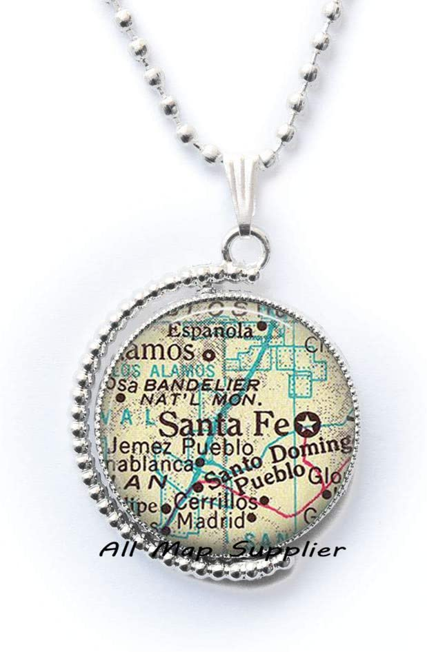 AllMapsupplier Fashion Necklace,Santa Fe map Pendant,map Jewelry,Sante Fe Key Chain,Santa Fe Necklace,map Necklace,Santa Fe Pendant,Santa Fe Necklace,A0279