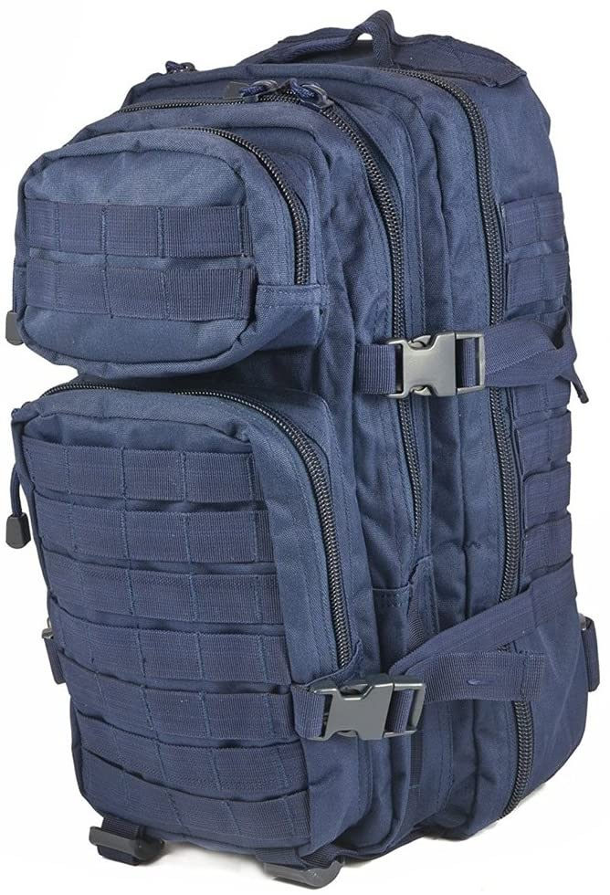 Mil-Tec Military Army Patrol Molle Assault Pack Tactical Combat Rucksack Backpack (Navy Blue, 20 Liter)