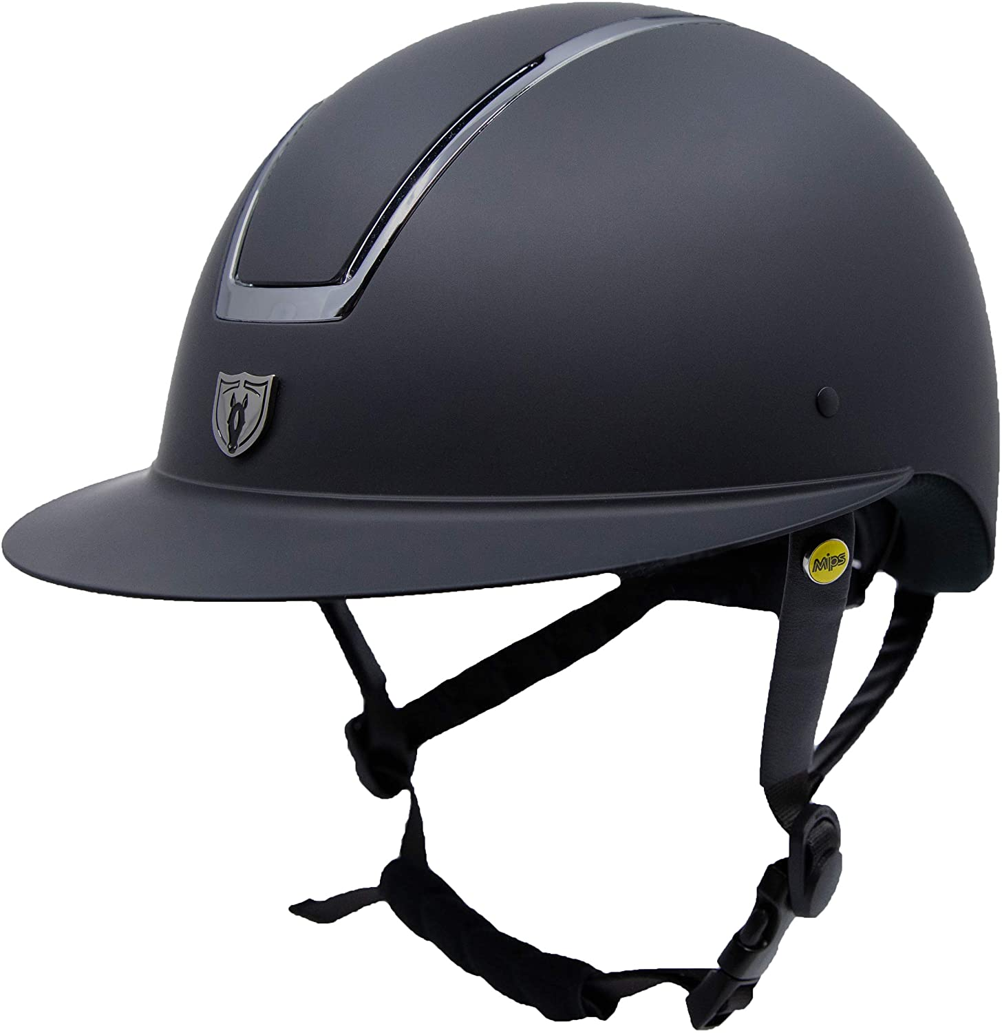 TIPPERARY EQUESTRIAN Horse Riding Helmet - Windsor - English Style Protective Horseback Riding Apparel - Customizable Fit and Cooling Ventilation - Black Chrome - Wide Brim - L