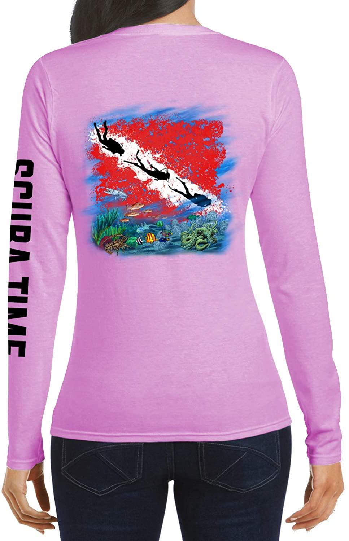 GAMEFISH USA Women's UPF 50 Lightweight Microfiber Moisture Wicking Performance Fishing Shirt Scuba Flag