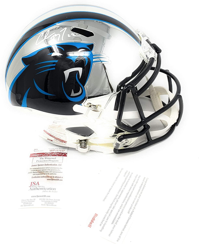 Christian McCaffrey Carolina Panthers Signed Autograph RARE CHROME Full Size Speed Helmet JSA Witnessed Certified
