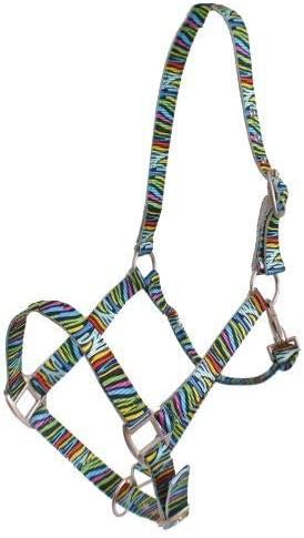 Showman Premium Nylon Horse Halter w/Multi-Colored Zebra Print! New Horse TACK!