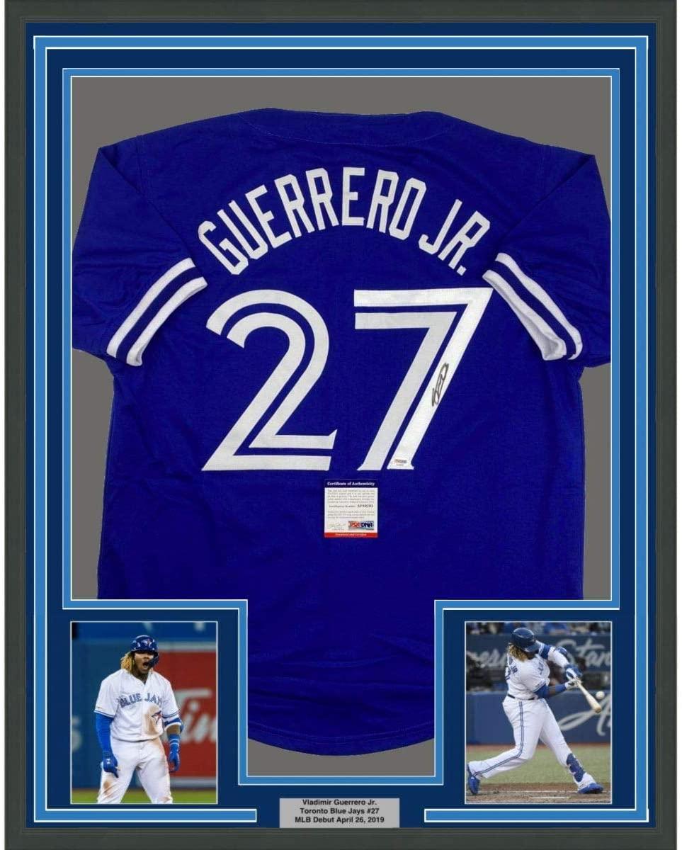 Framed Autographed/Signed Vladimir Vlad Guerrero Jr. 33x42 Toronto Blue Baseball Jersey PSA/DNA COA