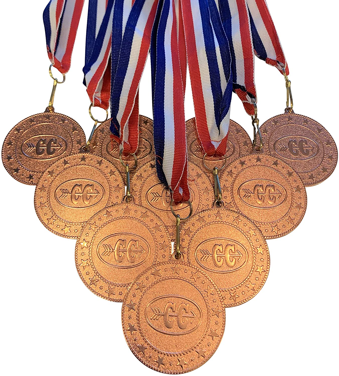 Bronze Cross Country Medals Trophy Award with Neck Ribbons. (Pack of 10)