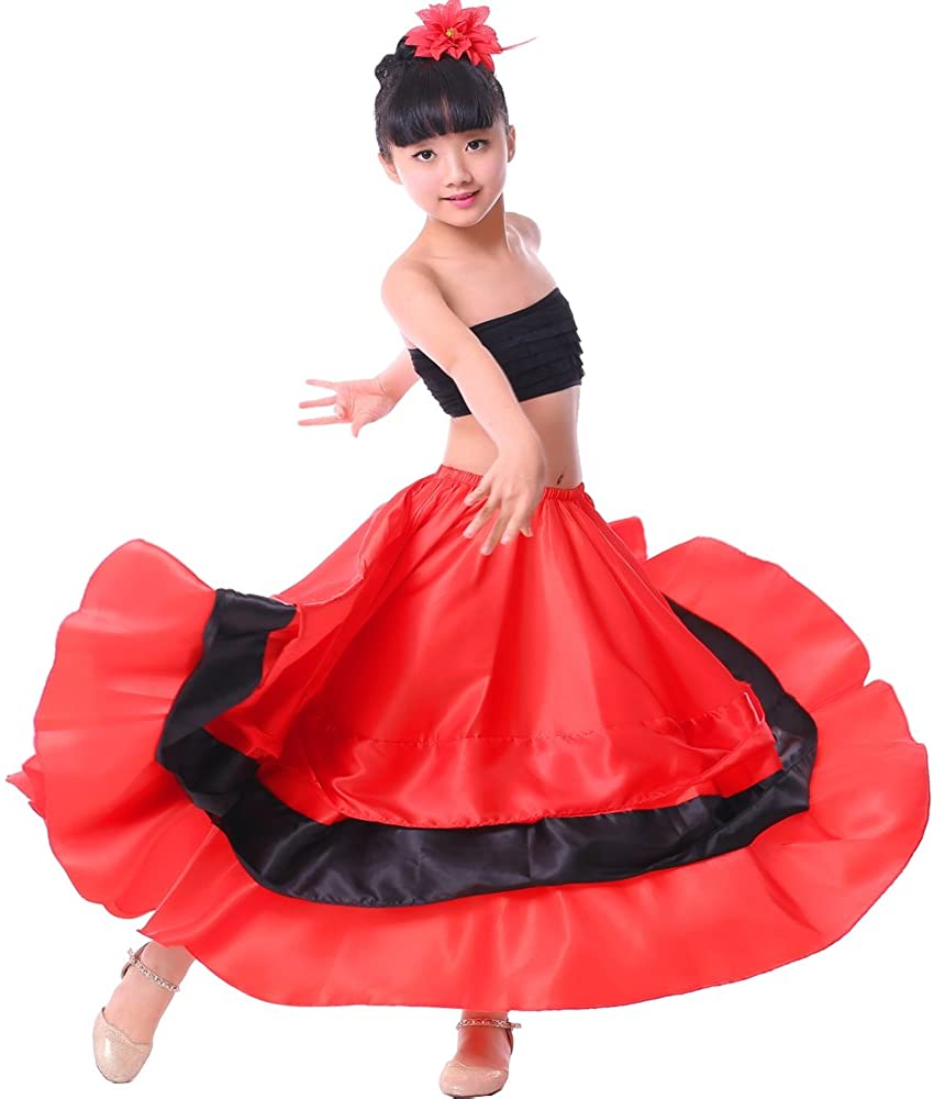 Girls Gypsy Belly Dance Halloween Performance Spanish Bull Red Black Circle Skirt