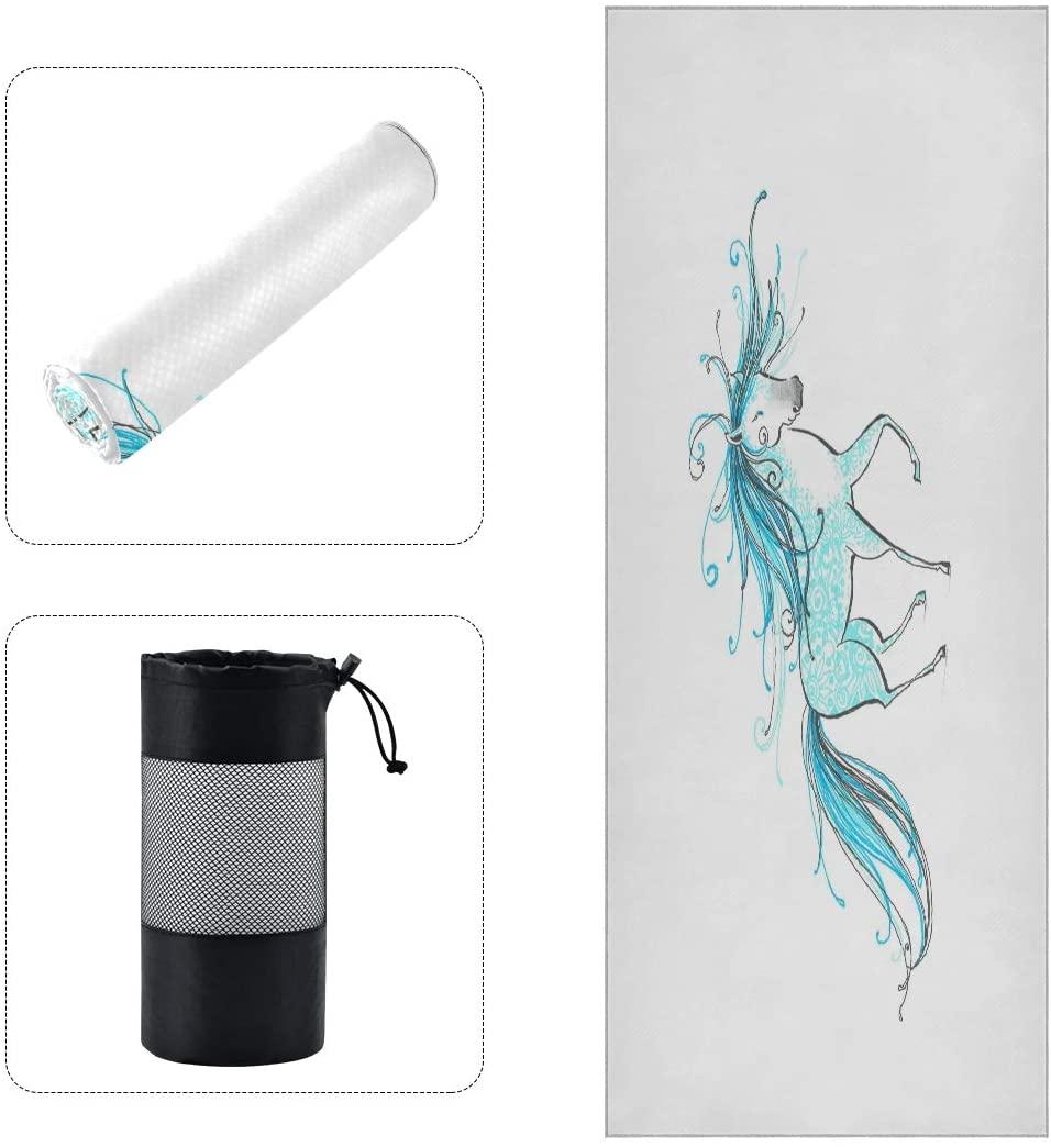 A Little Fairy Blue Horse Yoga Towels Non Slip Sweat Absorbent Mat Towel for Hot Yoga Pilates