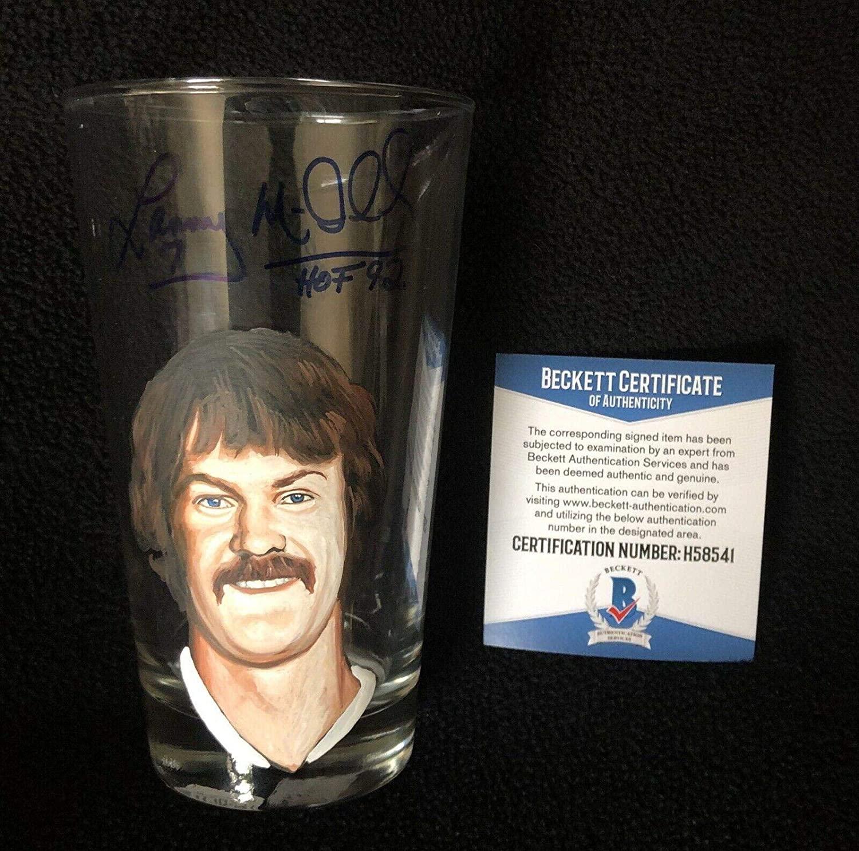 Lanny McDonald Signed & Inscribed Painted Calgary Flames Pint Glass Beckett COA - Beckett Authentication