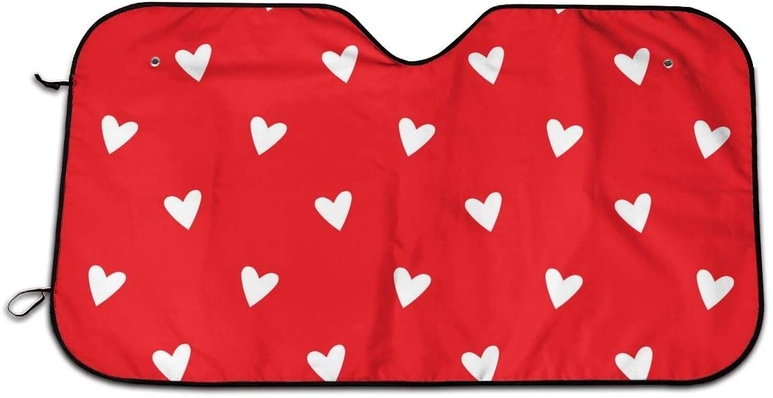 OWSDC White Hearts Red Car Sun Shade for Windshield Funny Foldable Front Sunshade for SUV Trucks Visor Protector