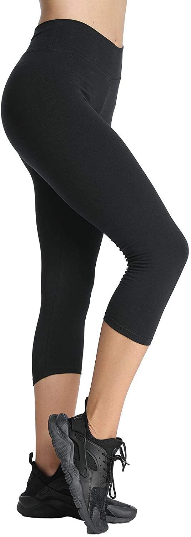 4HOW Womens Custom Size High Waisted Yoga Capri Leggings Cotton Spandex Workout 3/4 Pants