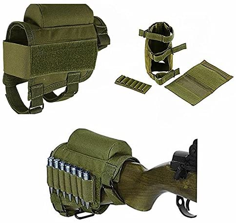 FIRECLUB Buttstock, Hunting Shooting Tactical Cheek Rest Pad Ammo Pouch with 7 Shells Holder