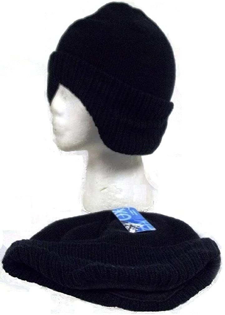 Black Knit Beanie Skull Cap with Earband Hat Ear Muffs Band Winter Head Gear