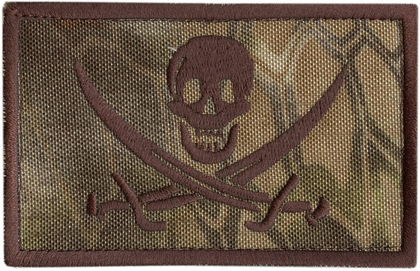 LEGEEON Kryptek Highlander Calico Jack Skull Pirate Jolly Roger Morale ISAF Sew Iron on Patch