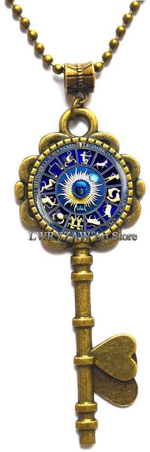 Zodiac Signs Key Necklace, Zodiac Jewelry, Zodiac Symbol Key Necklace, Astrology Key Necklace, Blue Zodiac Key Necklace,Sun Pendant,M255