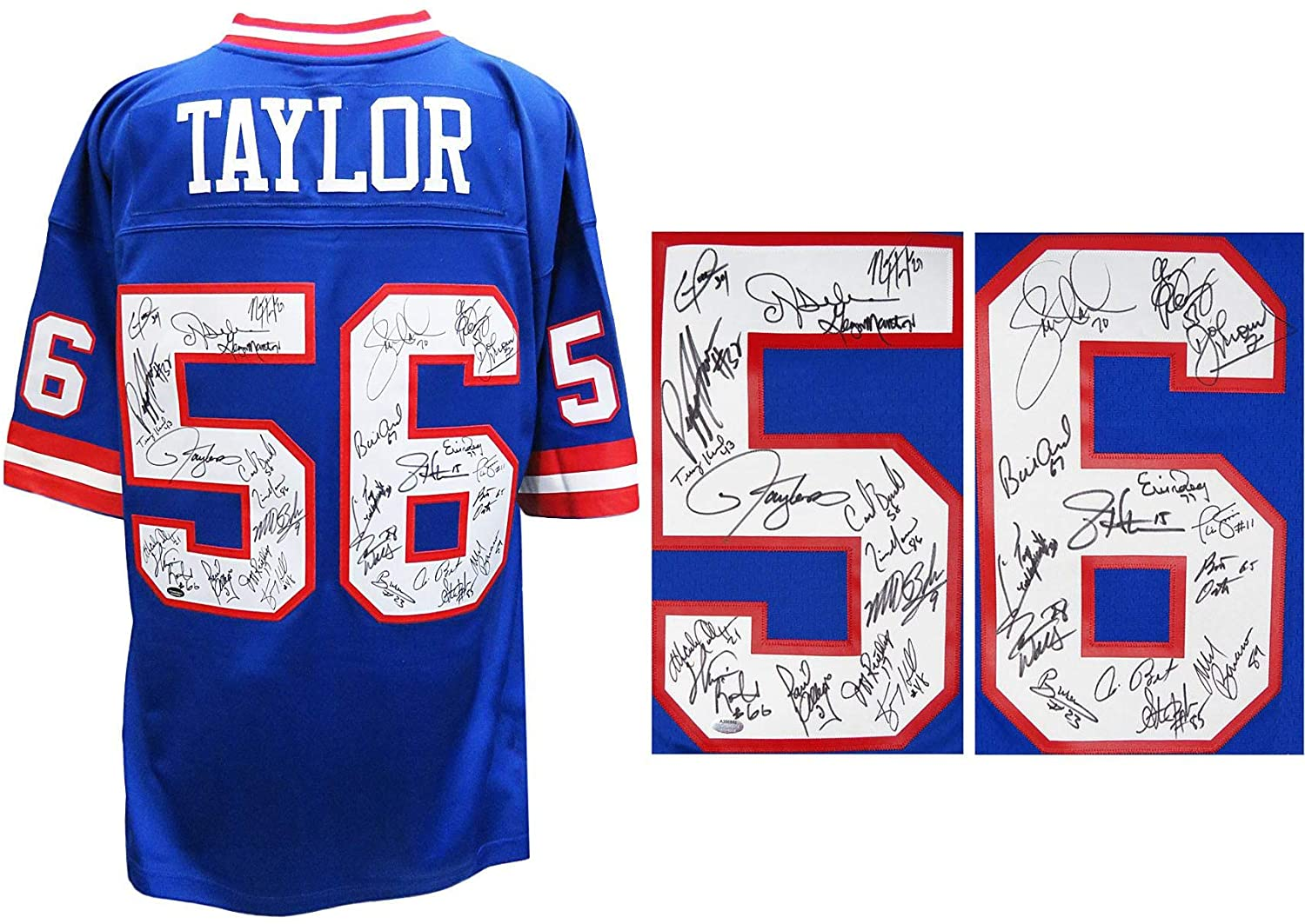 New York Giants Super Bowl XXI/XXV Team Signed Giants Lawrence Taylor #56 Blue Mitchell & Ness Premier Jersey (29 Sigs)