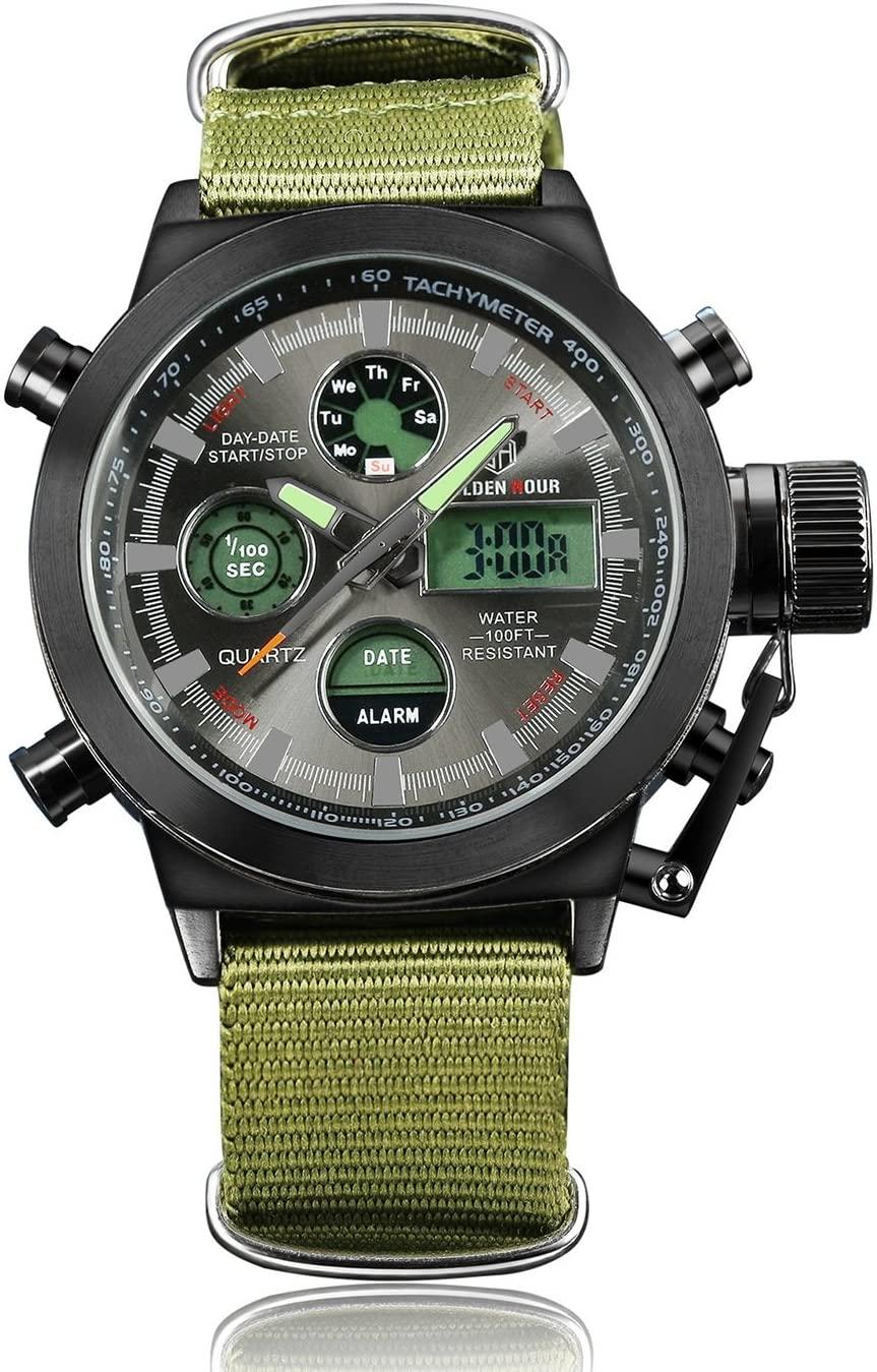 HUAN Mens Sports Watches Men Waterproof Watch Outdoor Electronic Watch Canvas Watch