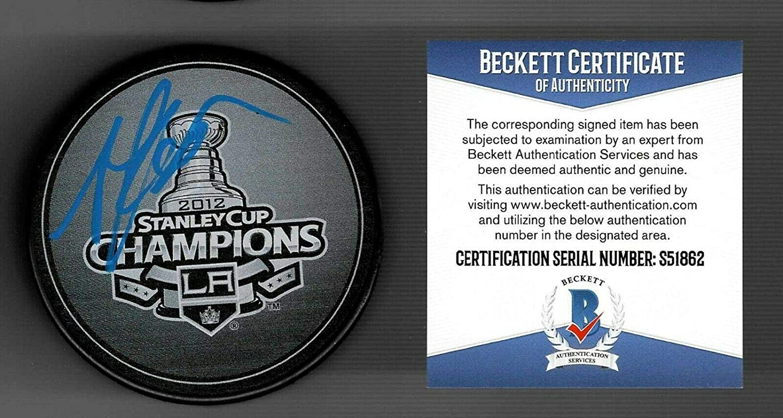 Autographed Anze Kopitar Hockey Puck - 2012 Stanley Cup Champs Beckett COA - Beckett Authentication - Autographed NHL Pucks
