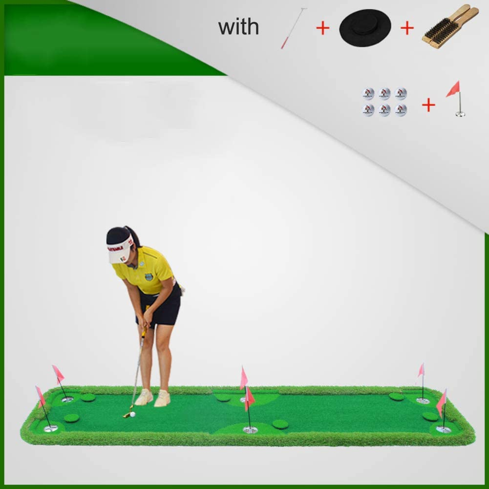 softneco Professional Golf Training Practice Equipment for Indoor Home Use,Portable Golf Putting Green with 6 Holes,Mini Putting Mat A 75x300cm(30x118inch)