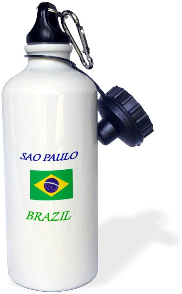 3dRose Lens Art by Florene - Brazil Cities with Flag - Image of Words Sao Paulo Brazil with Flag - 21 oz Sports Water Bottle (wb_323799_1)