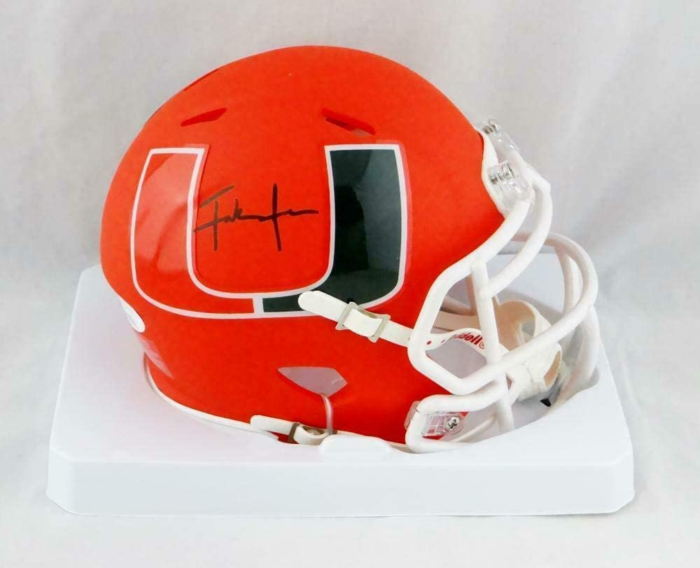 Frank Gore Autographed Miami Hurricanes AMP Speed Mini Helmet- W Auth *Black - JSA Certified - Autographed College Mini Helmets