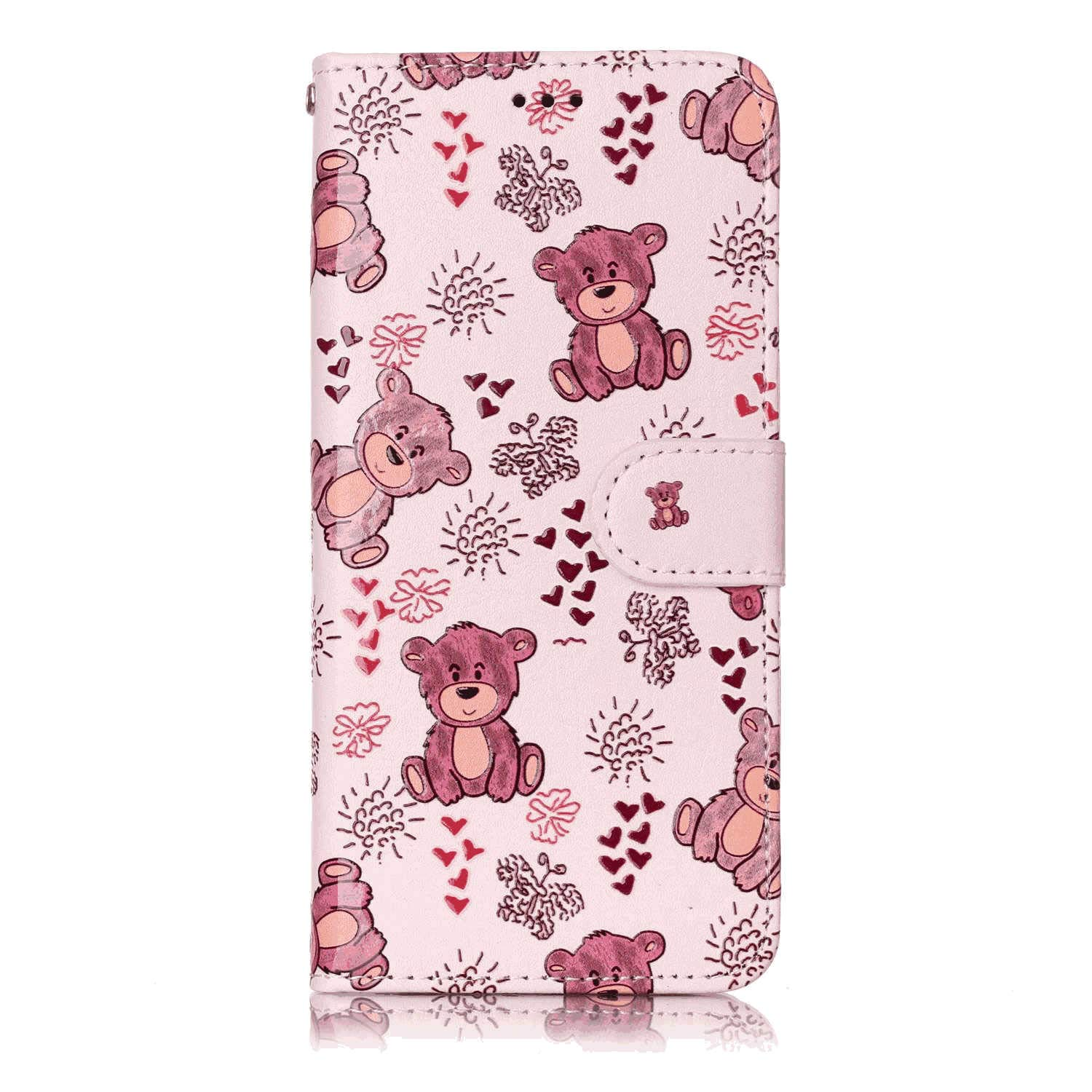 Positive Cover Compatible with iPhone X, Bear PU Leather Wallet Flip Case for iPhone X