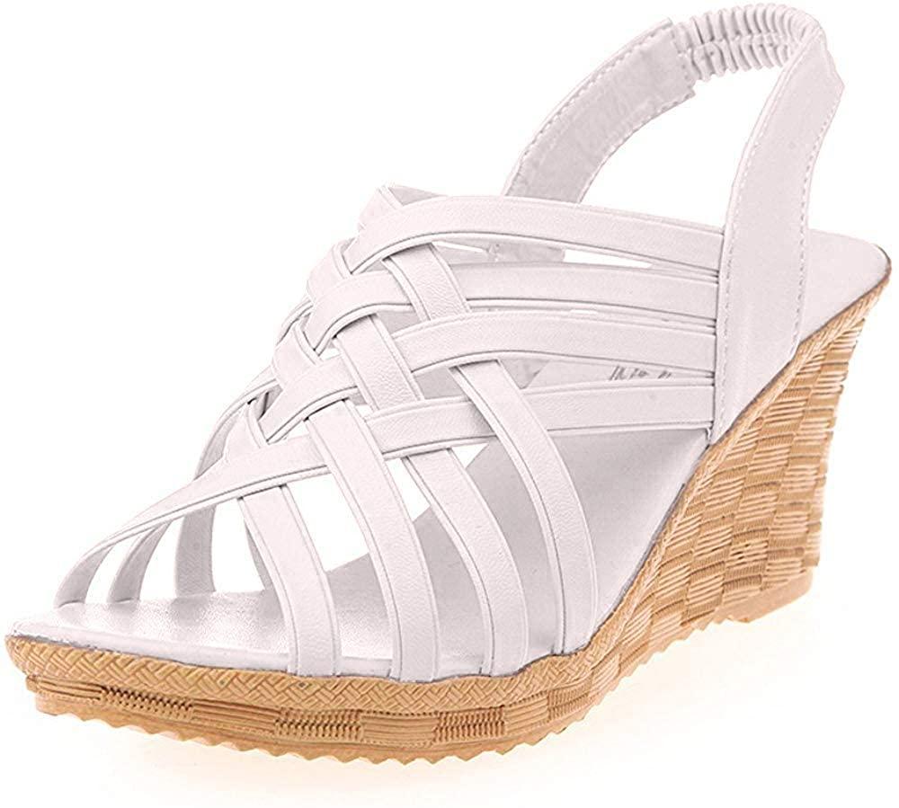 Nevera Women's High Heel Wedges Platforms Strap Criss Cross Cut Outs Sandal Shoes