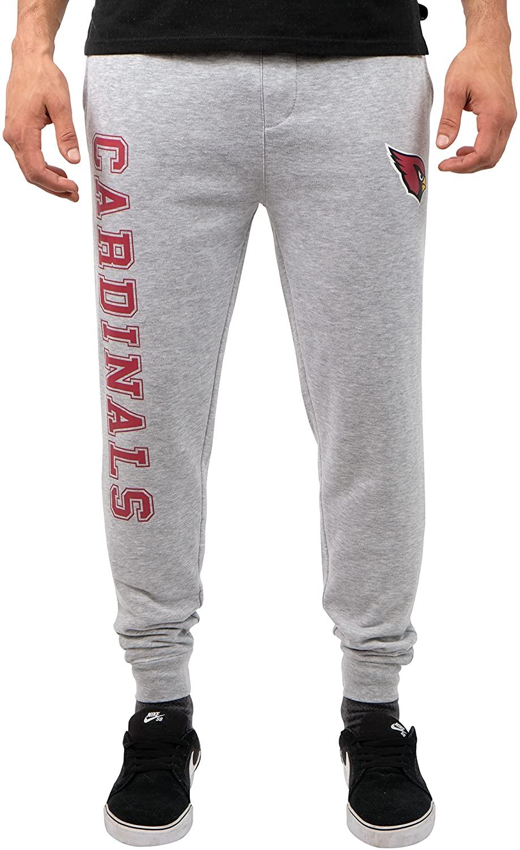 Ultra Game NFL Arizona Cardinals Mens Jogger Pants Active Basic Fleece Sweatpants, Heather Gray 18, X-Large