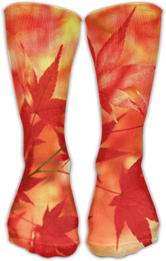 Pin-1 Red Maple Leaf Canadian Flag Athletic Socks Novelty Running Long Sock Cotton Socks