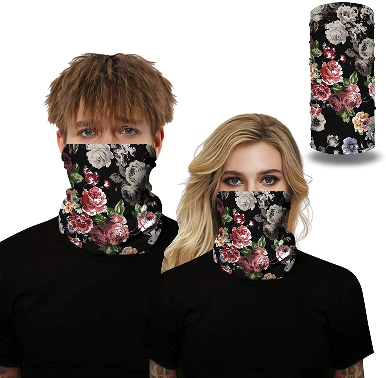 Multi Functional Ear Face Bandana Neck Gaiter, Sun UV Dust Protection Reusable Mask Scarf Motorcycle Balaclava for Men Women