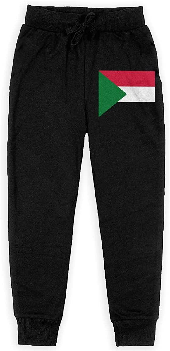 LINGMEI Youth Sweatpants Flag of Sudan Teen's Jogger Pants Kids' Leggings