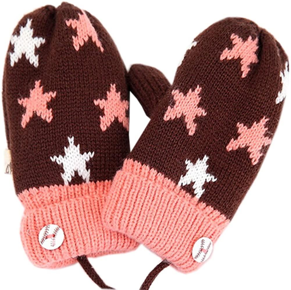 Kylin Express Kids' Soft Double Layer Mittens Winter Warm Gloves, Brown/Pink,No.4