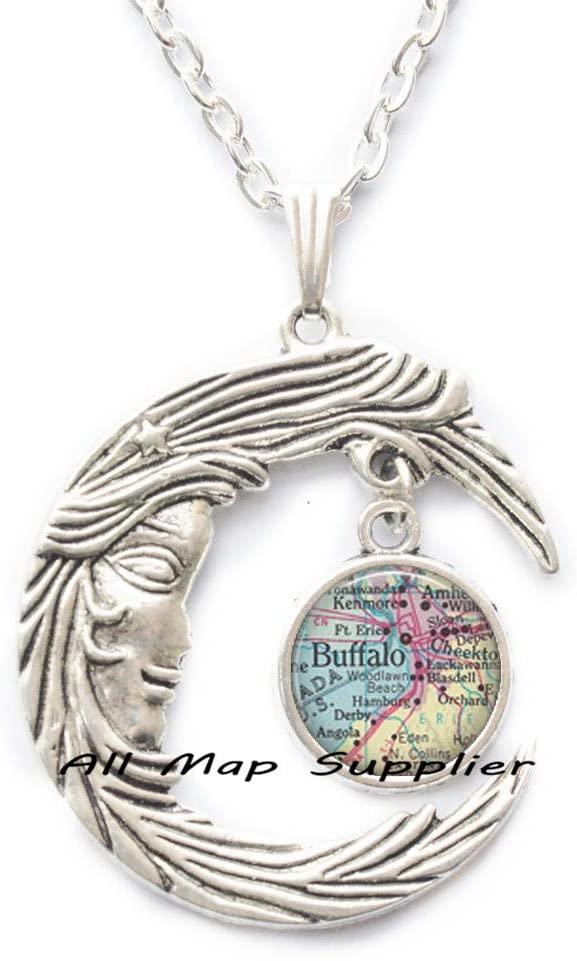 AllMapsupplier Fashion Necklace,Buffalo,New York map Pendant,Buffalo map Necklace,Fashion map Jewelry,Buffalo Necklace,Buffalo Pendant,A0271