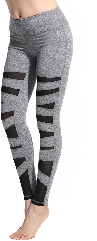 Lotsyle Women's Mesh Splice Sports Workout Active Pants Gym Yoga Fitness Leggings