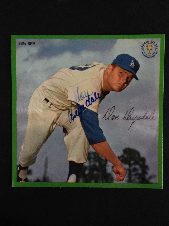 Don Drysdale signed 1962 AURAVISION Record Unpunched Dodgers HOF CBM COA - MLB Autographed Miscellaneous Items
