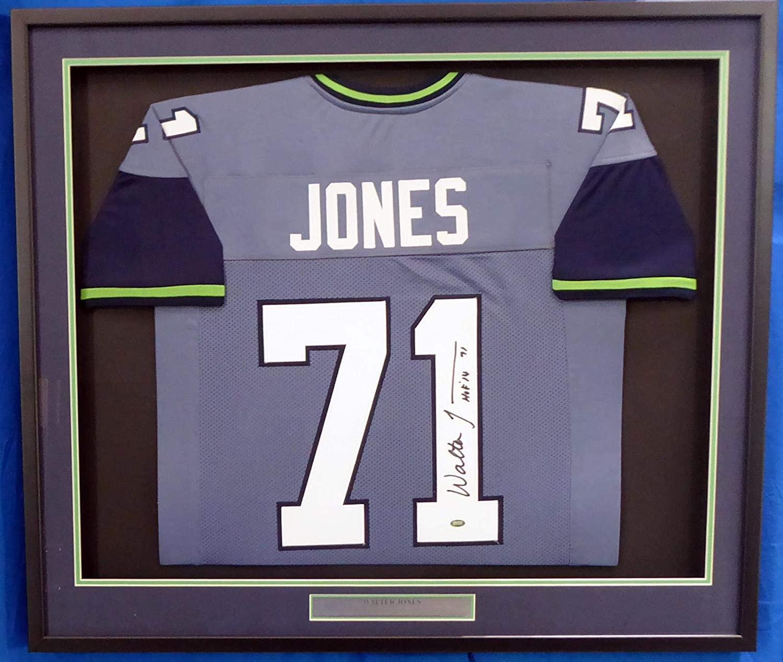 Seattle Seahawks Walter Jones Autographed Framed 2002-2011 Blue Jersey