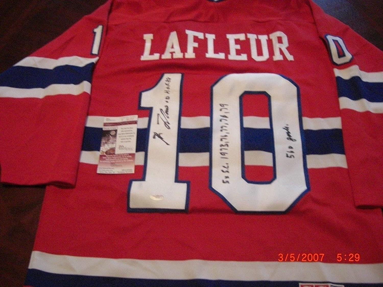 Guy Lafleur Signed Jersey - Montrealcanadiens Hof 1988 560 Goals 5 X Sc coa - JSA Certified - Autographed NHL Jerseys