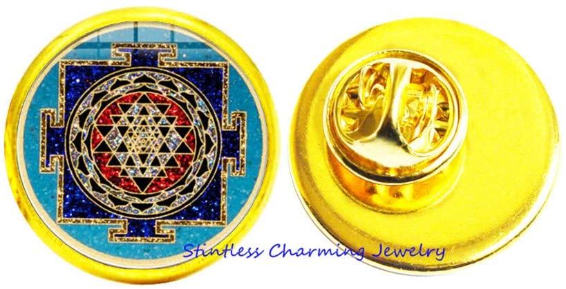 Buddhist Mandala Brooch,Sacred Geometry Jewelry,Tibetan Brooch,Spiritual Gift, Men's Brooch,Men's Mandala Pin-JV145