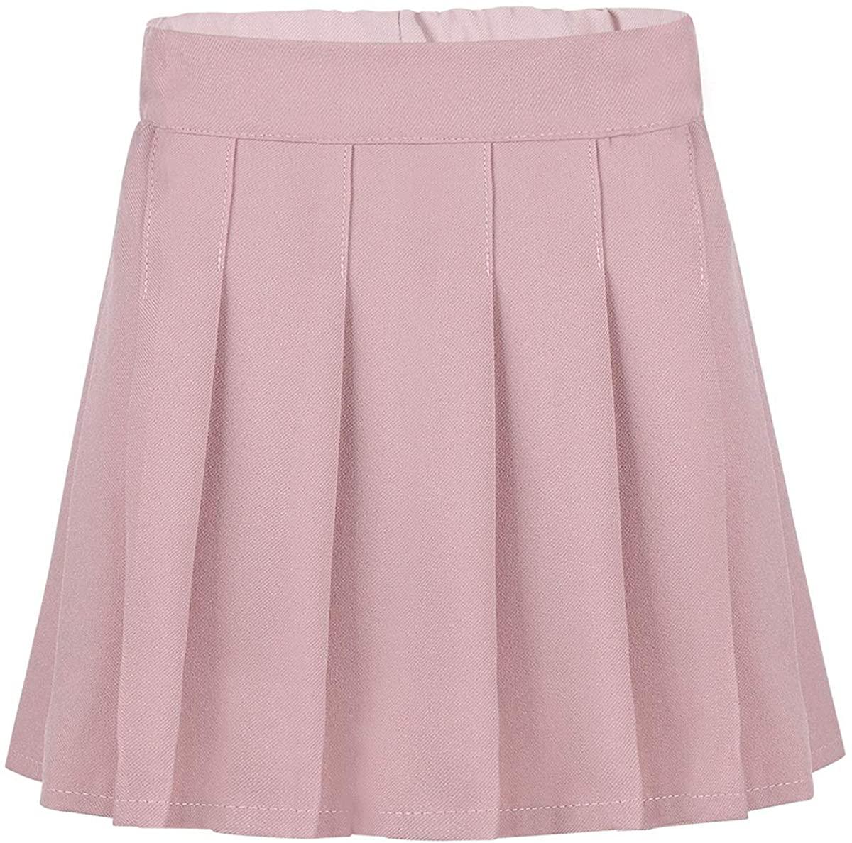 iiniim Kids Girls Classic School Uniform Skirt Schoolgirl Pleated Scooters Skort Mini Skirt with Hidden Shorts