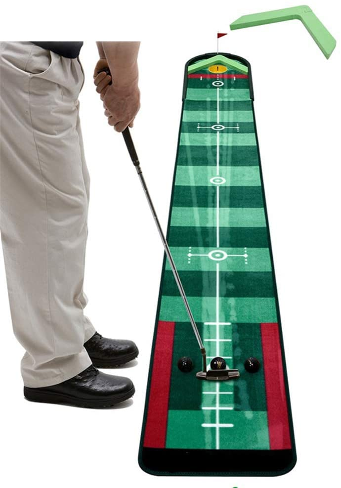 softneco Professional Putting Mat for Adults,Portable Golf Training Aids Indoor Outdoor,Golf Putting Green with Automatic Ball Return A